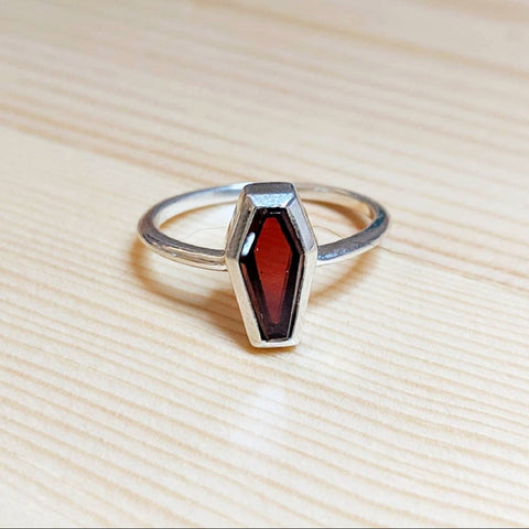 Garnet Coffin Ring