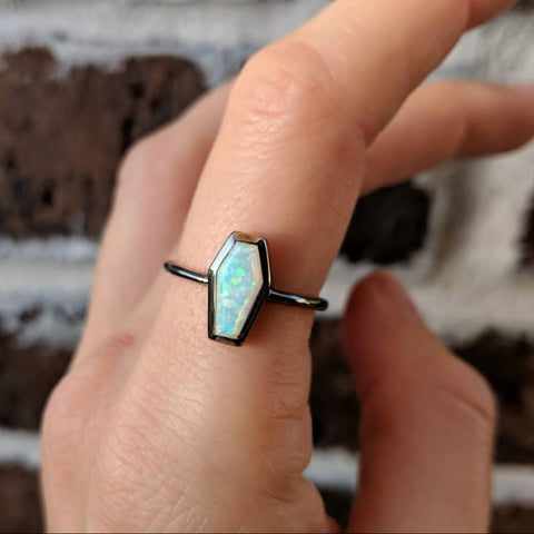 Opal Coffin Ring