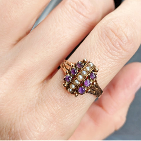 Antique Opal and Garnet Ring