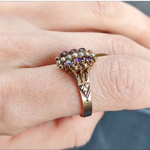 Victorian Amethyst Seed Pearl Ring