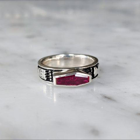 Limited Edition Skeletal Memento Mori Ruby Crystal Ring