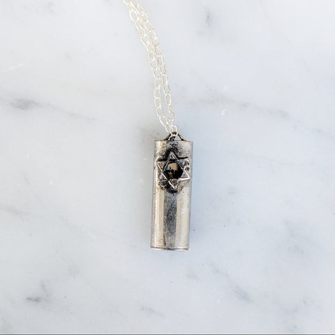 Antique Mezuzah Scroll Necklace