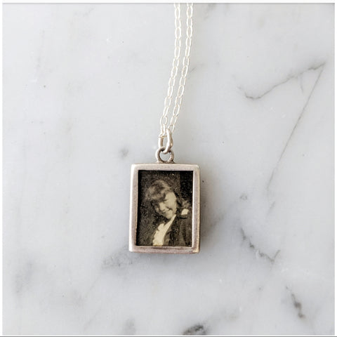 Antique Picture Frame Charm Necklace