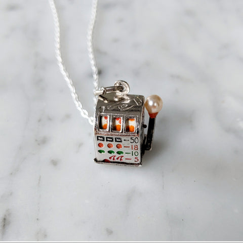 Antique Slot Machine Charm Necklace