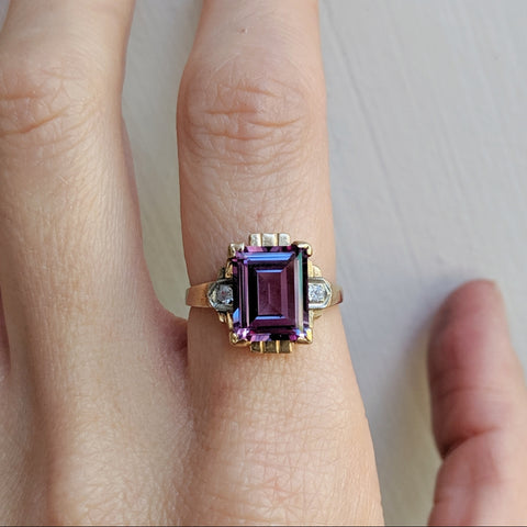 Antique Alexandrite and Amethyst  Ring