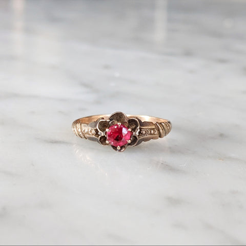 Antique Ruby Flower Ring