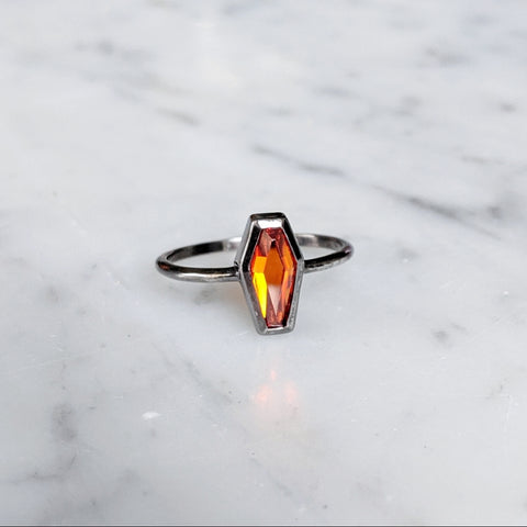 Orange Crystal Coffin Ring