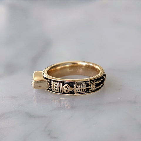 Gold Skeletal Memento Mori Ring