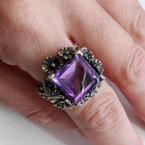 Amethyst Forget Me Not Ring Size 7.5