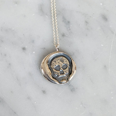 Memento Mori Skull Wax Seal Necklace