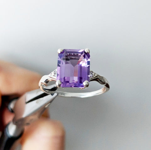 Antique 10k Princess Tanzanite Sapphire Ring