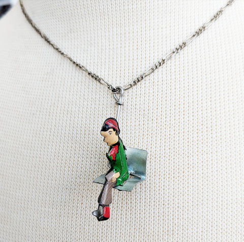 Antique Ski Lift Necklace