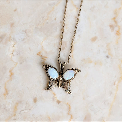 Victorian Opal Butterfly Necklace