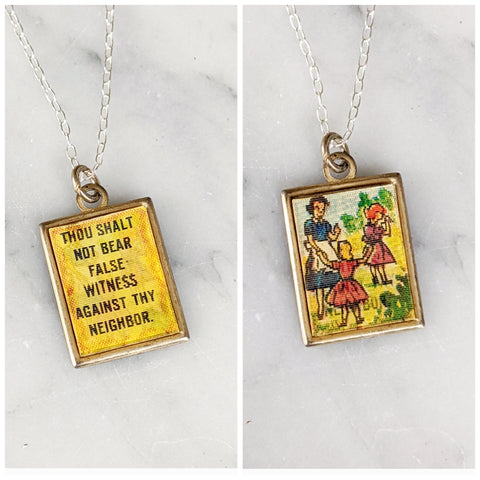 Vintage Ten Commandments Necklace
