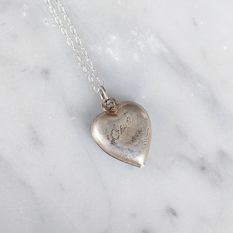 Antique Enamel Floral Heart Charm