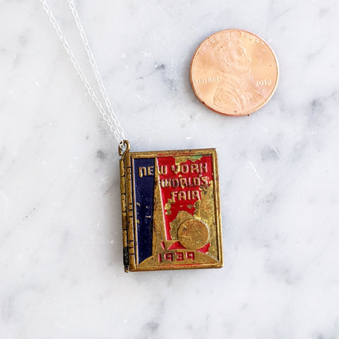 Antique New York World's Fair Book Locket Necklace