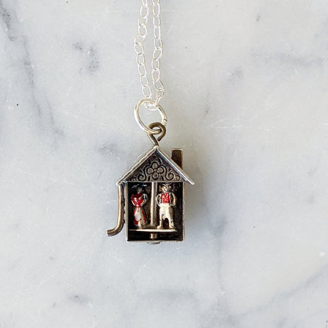 Antique Bavarian Weather House Necklace