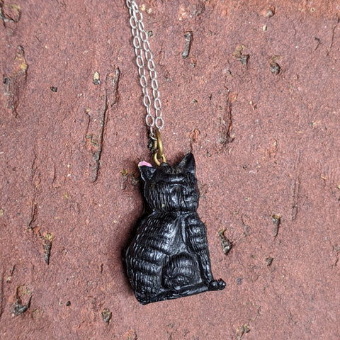 1940's Black Cat Necklace