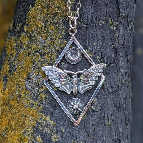 Celestial Moth Pendant Necklace