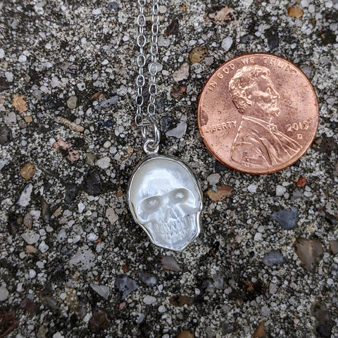 Mother of Pearl Skull Necklace