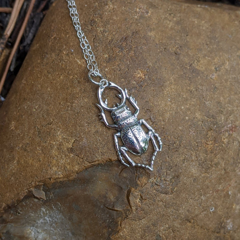 Stag Beetle Charm Necklace