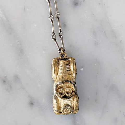 Vintage Gold Plated Car Necklace