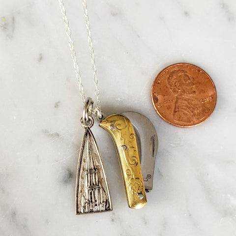 Vintage Chicago Temple Blade Necklace