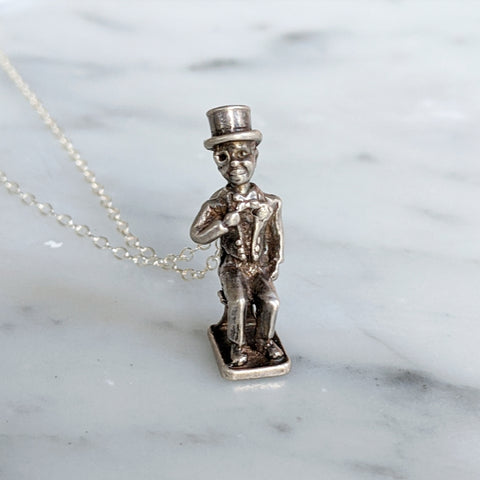 Antique Bobble Head Ventriloquist Dummy Necklace