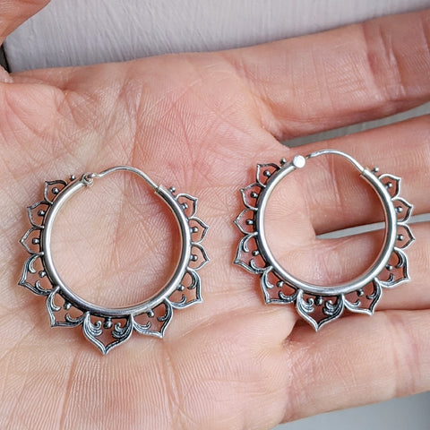 Sterling Silver Lotus Hoop Earrings