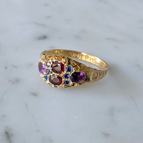 Antique Victorian 10k Mixed Stone Ring