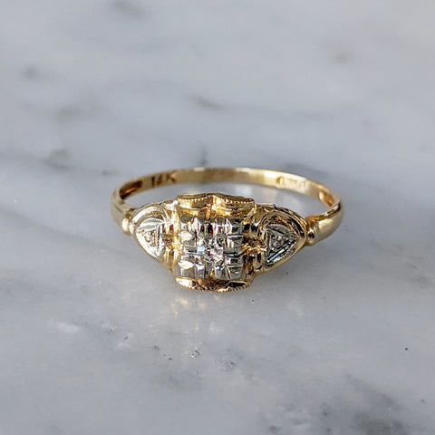 Antique Triple Diamond Engagement Ring