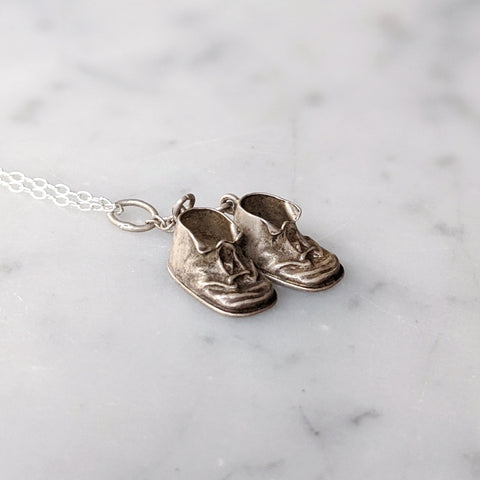 Antique Baby Booties Necklace