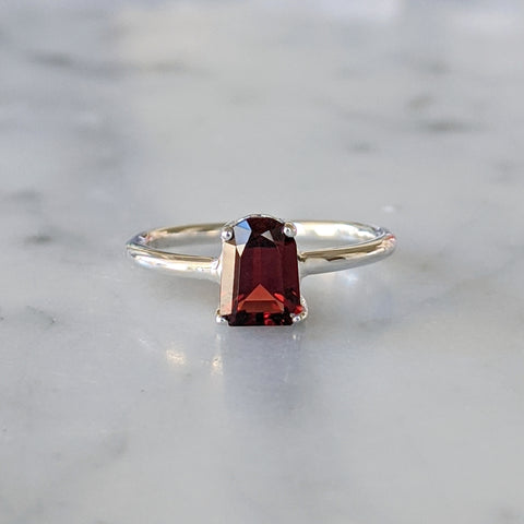 Garnet Tombstone Ring