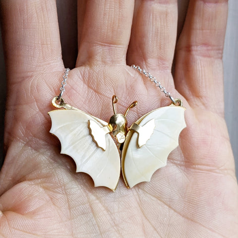 Antique Mother of Pearl Butterfly Necklace