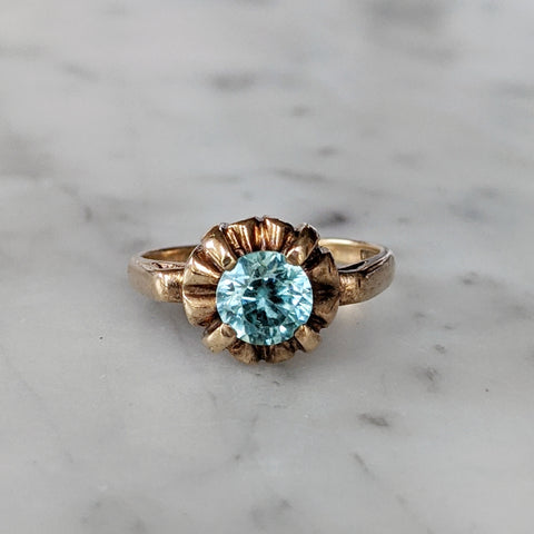 1930's Ornate 10k Blue Topaz Statement Solitaire Ring