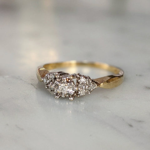 Antique 10K Cluster Diamond Ring