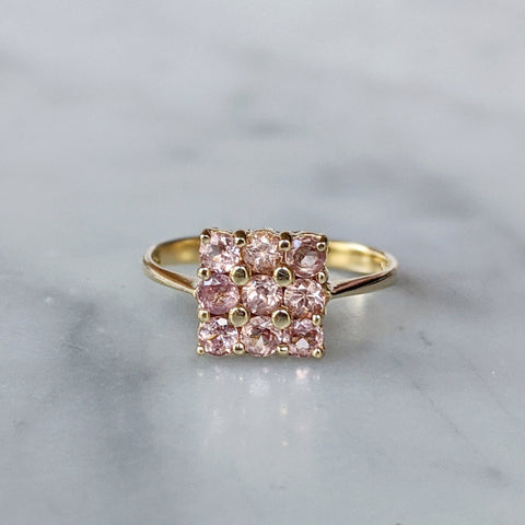 Antique 14K Pink Topaz Square Cluster Ring