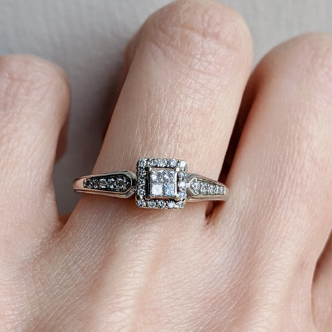 Antique 10K Diamond Halo Engagement Ring