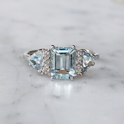 Antique 10K Emerald Cut Blue Topaz Diamond Ring