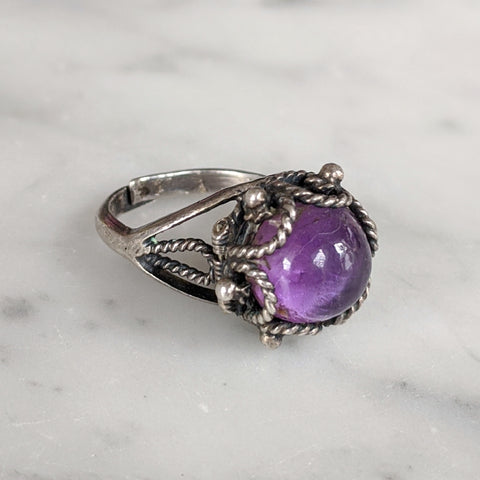 Vintage Sterling Silver Purple Domed Poison Ring