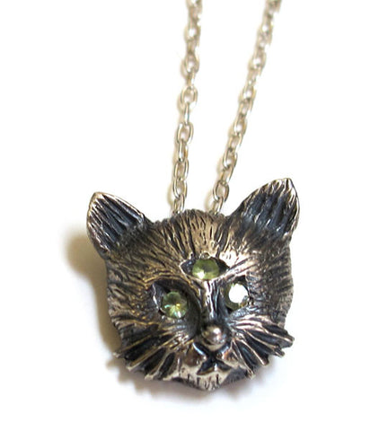 Three Eyed Cat Pendant Necklace