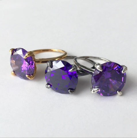 Deep Purple Crystal Talon Ring