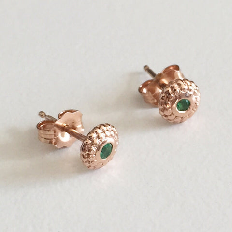 Tibetan Emerald Stud Earrings