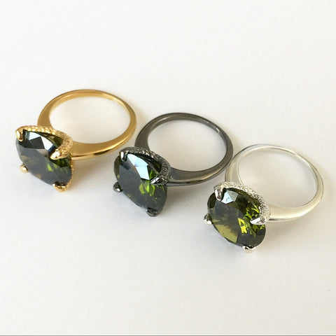 Olive Crystal Talon Ring