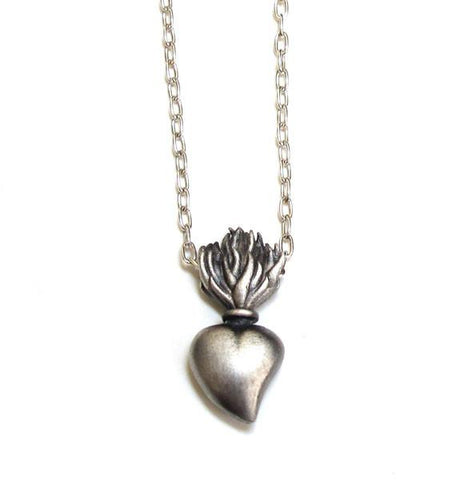 Sacred Burning Heart Necklace Immediate Ship