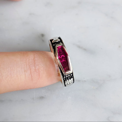 Immediate Shipping Skeletal Memento Mori Ruby Crystal Ring