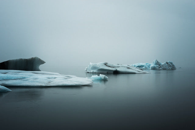 Gorgeous landscape photograph of icebergs floating in a glacial lagoon in Iceland. Blue tones, very serene.