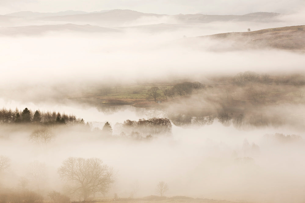 A romantic misty landscape in sepia tones featuring a loch or lake with trees in the southern uplands of Scotland