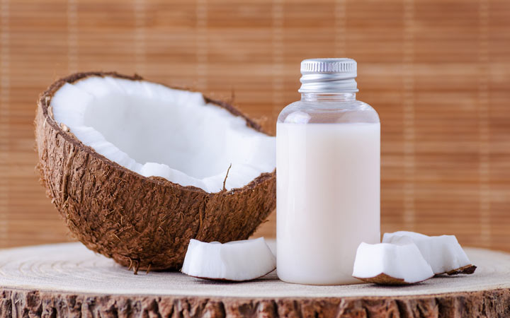 cosmetic bottle with coconut