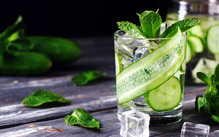 Infused cucumber drink with mint